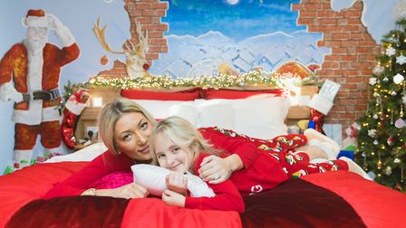 Alicia Megan Barnard and her daughter Amira Megan are the models for the new Christmas room at Trave