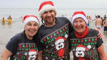 Cromer Boxing Day dip. Helen Jewers with her mum and brother.Photo: KAREN BETHELL