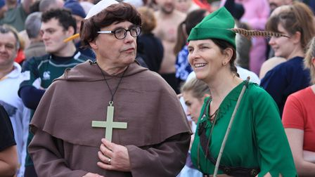 Cromer Boxing Day dip. Friar Tuck and Robin Hood get ready to brave the waves.Photo: KAREN BETHELL