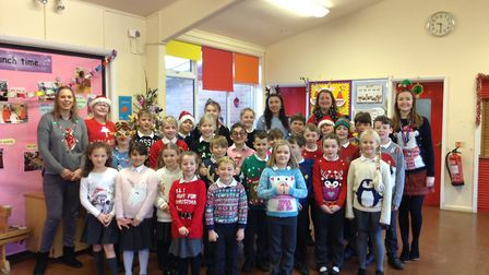 All the children at Hindringham C of E Primary School in their Christmas jumpers. Picture: Hindringh