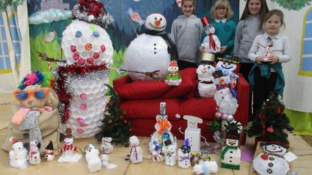 Two Year 6 children at Mattishall Primary School organised a snowman building competition to raise m