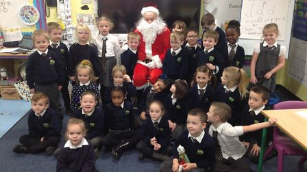 Southtown Primary School's Year 1s in Birch Class had a surprise visit from Father Christmas. Pictur