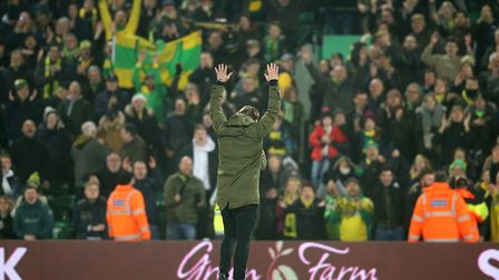 Norwich City head coach Daniel Farke celebrates with fans after the final whistle Picture: Paul Ches