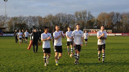 King's Lynn Town players applaud the away support after winning 4-1 at Needham Market Picture: BEN P