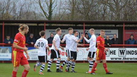 King's Lynn Town players celebrate Craig Parker's opener in their 4-1 win at Needham Market Picture: