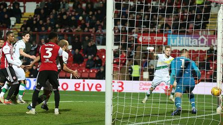 Timm Klose of Norwich scores his sides 1st goal during the Sky Bet Championship match at Griffin Par