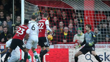 Julian Jeanvier of Brentford scores his sides 1st goal during the Sky Bet Championship match at Grif
