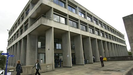 The UEA library was evacuated after a water leak. Picture: Denise Bradley