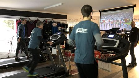 The latest charity treadmill challenge is taking place at Sportlink at the moment. Picture: Nick App