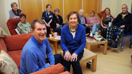Colin and Joyce Bell, front, with patients and carers at a meeting of the Norfolk Brain Tumour Suppo