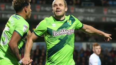 Teemu Pukki of Norwich celebrates scoring his side's winner during the Sky Bet Championship match at