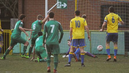 David Shade (5) scores for Gorleston at Norwich United Picture: DENISE BRADLEY