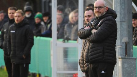 Stu Larter, right, manager of Gorleston, during the match against Norwich United Picture: DENISE BRA