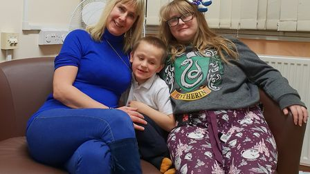 Caroline Thorogate with her son Daniel, six, and daughter Hannah, 22. Daniel has special educational