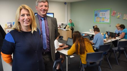 Principal Rachel Quick, and chairman of the Wherry School Trust, Barry Payne, in one of the classroo