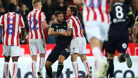 Tempers flare between Derby's Bradley Johnson and Stoke City's Joe Allen Picture: PA