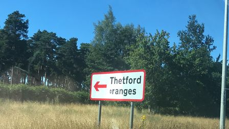 The Thetford Ranges sign, which has been altered to say Thetford Oranges. Photo: Luke Powell