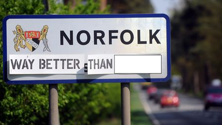 The Norfolk sign as the A11 leaves Suffolk into Norfolk near Thetford. Picture: Denise Bradley