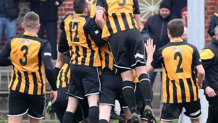 Great Yarmouth Town celebrate a goal by Dylan Switters against Gorleston Picture: Steve Wood