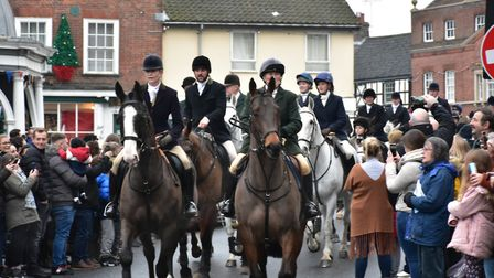 The annual Boxing Day hunt in Bungay by the Waveney Harriers where thousands of people lined the str