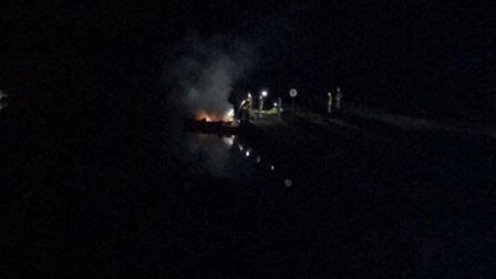 Suffolk Fire and Rescue Service was called at 8.05pm following reports of a blaze on a vessel at Bec