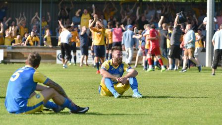 Dejection for King's Lynn Town as they lose the 2018 Southern League play-off final... it was quite