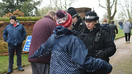 Well-wishers were searched by police before being allowed into the grounds : Joe Giddens/PA Wire