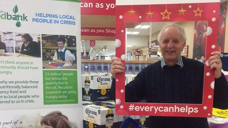 Lowestoft Foodbank volunteer Les collecting at the Tesco store in Lowestoft. Picture: Lowestoft Food