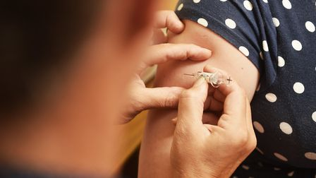 A patient receiving the flu jab. Picture: ANTONY KELLY