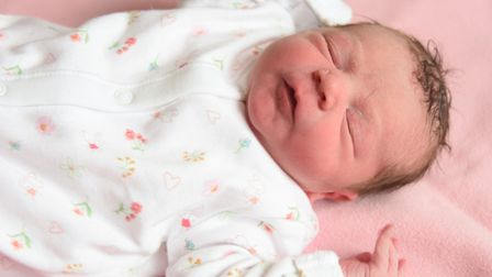 New Year's Day baby girl Lilly Sparkes from Wymondham, born at the Norfolk and Norwich University Ho