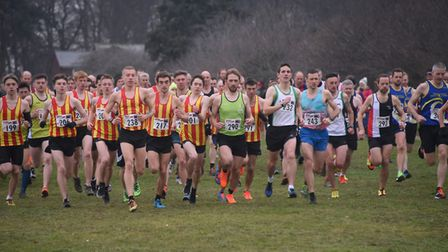 Competitors in the U20 men, senior men and masters men race in the Norfolk Cross Country Championshi
