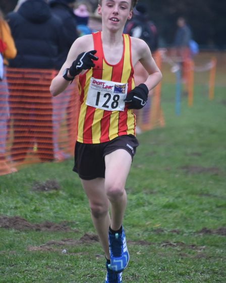 The winner of the U15 boys race, Danny Adams, at the Norfolk Cross Country Championships in Thetford