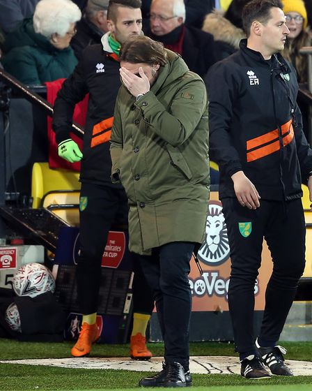 Daniel Farke finds Norwich City's FA Cup exit tough watching against Portsmouth Picture: Paul Cheste