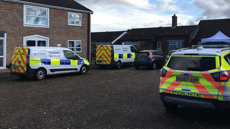 Norfolk Police attending a stabbing at Churchill Place, Brooke. Picture: Conor Matchett