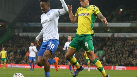 Ben Godfrey, right, was again deployed as emergency cover at left-back against Portsmouth, before mo
