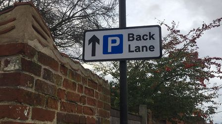 Back Lane in the centre of Wymondham is an access road to the town library and Central Hall but also