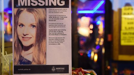 The poster for the missing 21-year-old, Sophie Smith in a shop window in Gorleston. Picture: DENISE