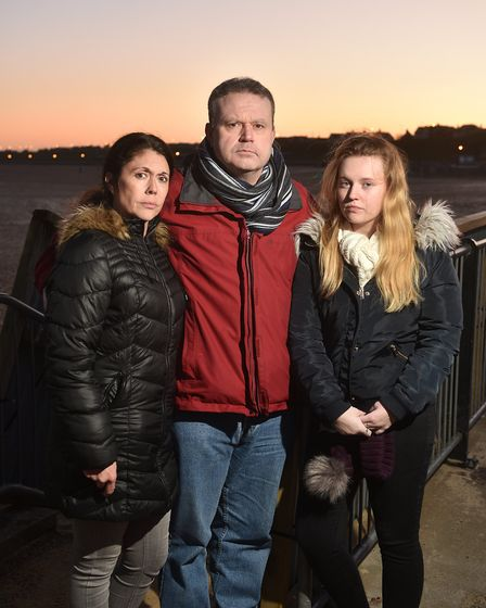 During the search for Sophie Smith. Left to right, Rebecca Russell (aunt), Martin Knowles (father) a