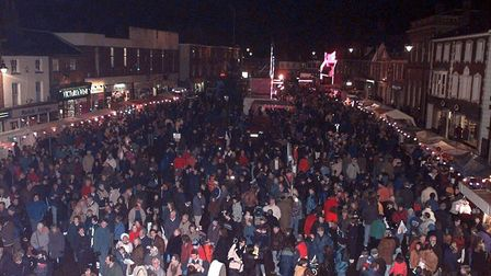(3/5EDI) Dereham market place packed for the christmas lights switch on.