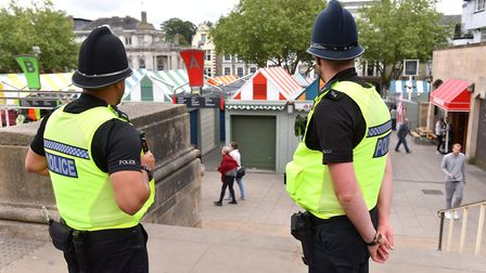 Police officers patrolling Norwich city centre. Picture: Nick Butcher