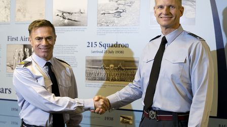 Pictured is the official station commander handover from Group Captain Tait to Group Captain Radnall