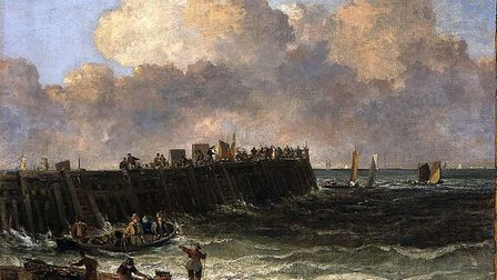 An oil painting Yarmouth Jetty by John Crome dated 1810 - 14 in Landscape 200 exhibition.photo - sub
