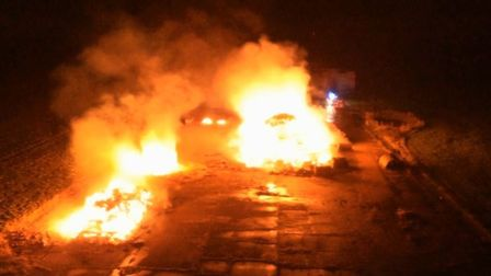 Dramatic footage of the fire in Watton. Picture: James Betts