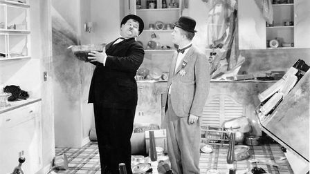 Oliver Hardy about to take a fall as Stan Laurel looks on in the film Blockheads Photo: Hal Roach