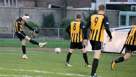 Harry Draper scores the opening goal in Great Yarmouth Town's win over Hadleigh a week ago Picture: