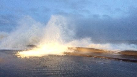 The morning high tide at Walcott, Norfolk, on January 8, 2018. Picture: DAVID BALE