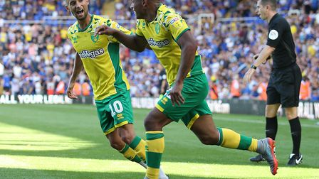 Onel Hernandez celebrates scoring on the opening day against Birmingham City. Picture: Paul Chestert
