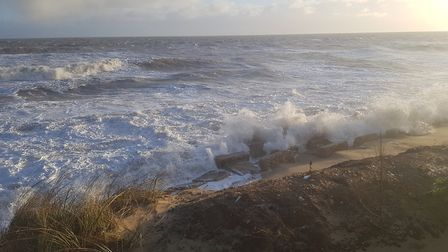 Wild weather at Winterton as seen from the car park looking down at the tank traps Picture: Liz Coat