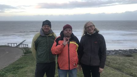 Ingrid and Martin Fleetcroft with Steve Sandeel (middle) who found Ingrid's lost wedding ring 6 days