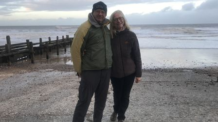 Ingrid and Martin Fleetcroft on overstrand beach where Ingrid lost her engraved wedding ring on New
